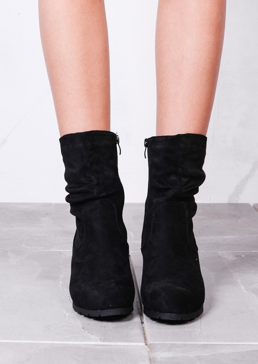 Ruched Suede Side Zip Wedge Ankle Boots Black