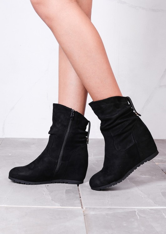 2f22aec5384 Ruched Suede Side Zip Wedge Ankle Boots Black