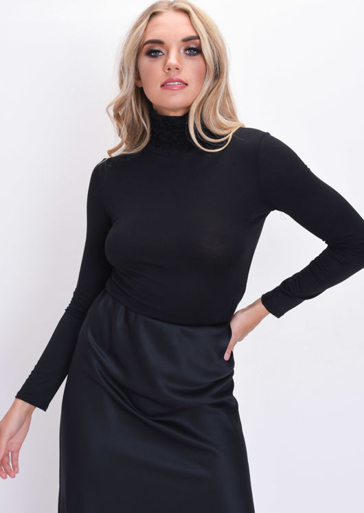 Ruched Turtleneck Long Sleeve Stretch Top Black