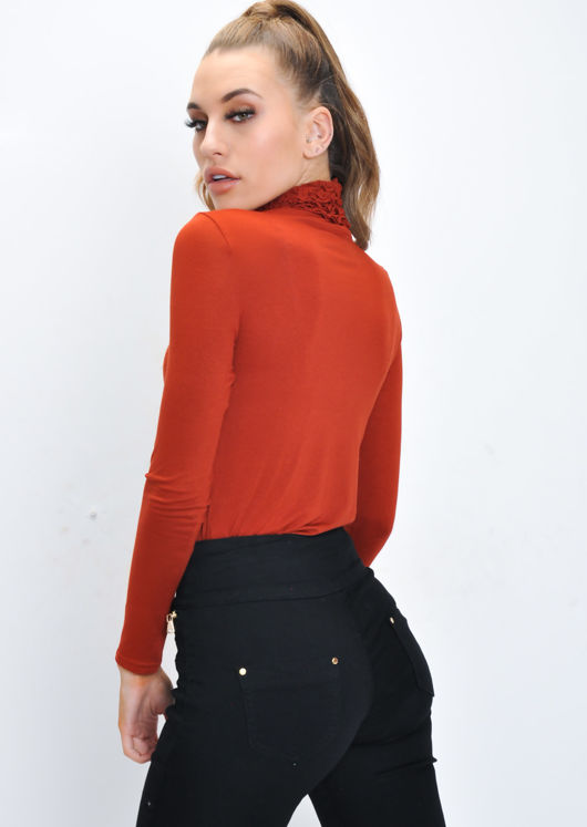 Ruched Turtleneck Long Sleeve Stretch Top Rust Brown