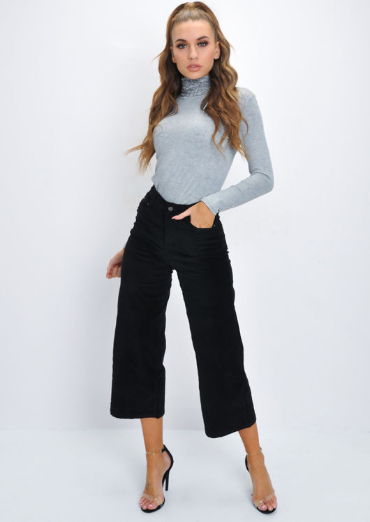 Ruched Turtleneck Long Sleeve Stretch Top Grey