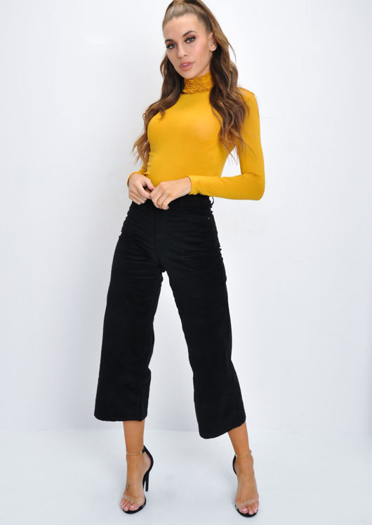 Ruched Turtleneck Long Sleeve Stretch Top Mustard Yellow