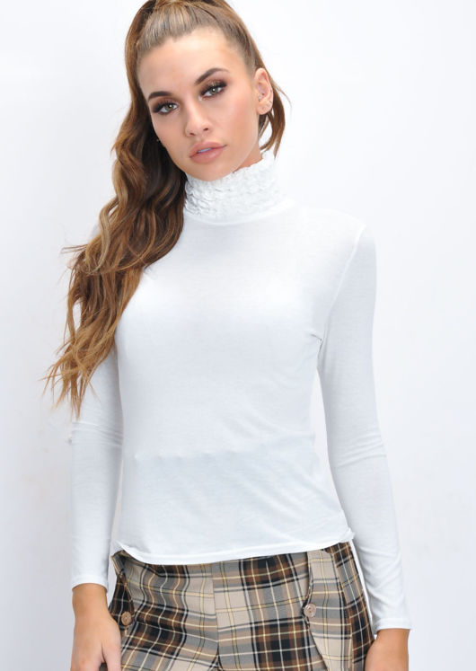 Ruched Turtleneck Long Sleeve Stretch Top White