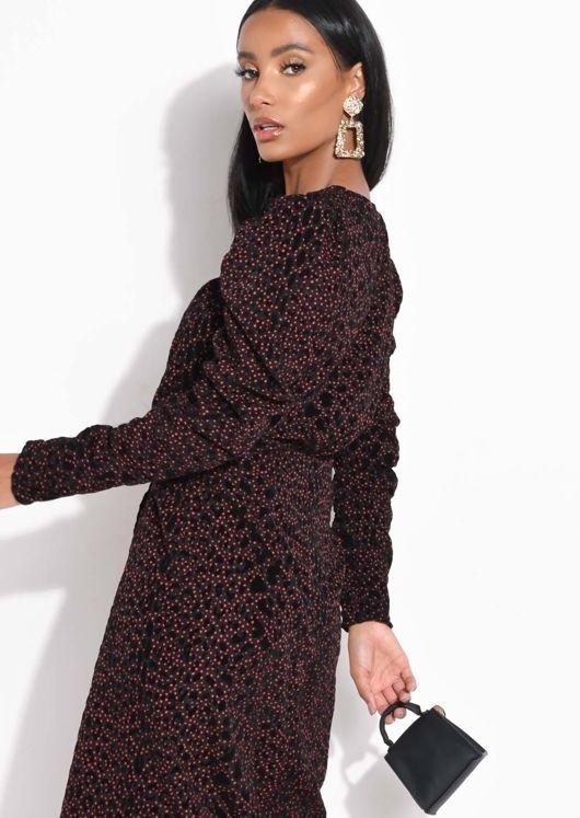 Ruched Velvet Leopard Print Polka Dot Blouse Top Black