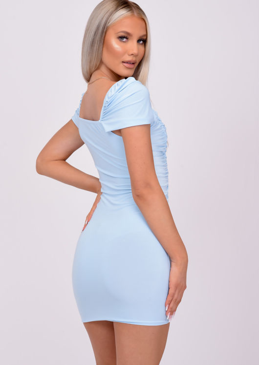 Ruched Wrap Neckline Bodycon Mini Dress Blue