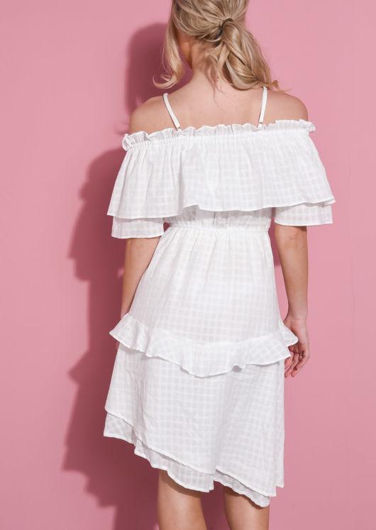 Ruffle Bardot Tiered Dress White