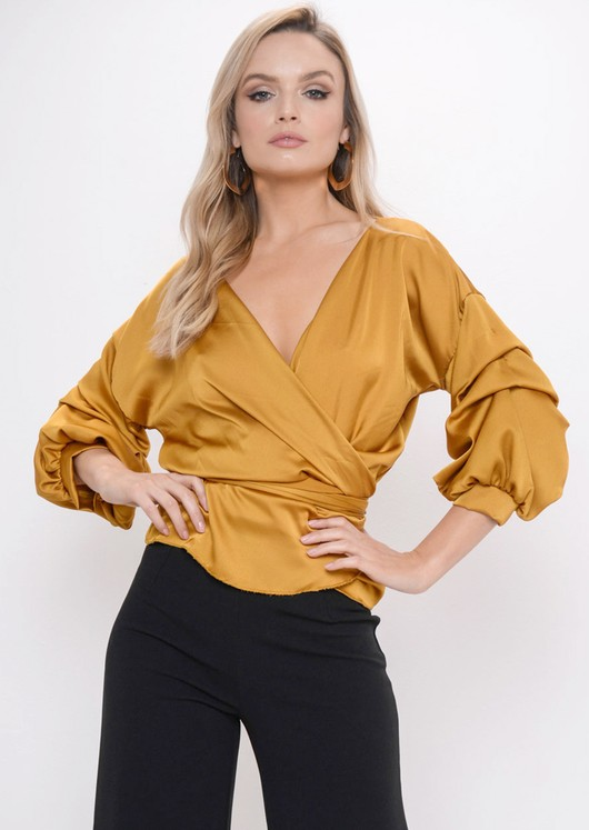 Ruffle Sleeve Satin Wrap Over Blouse Top Mustard Yellow