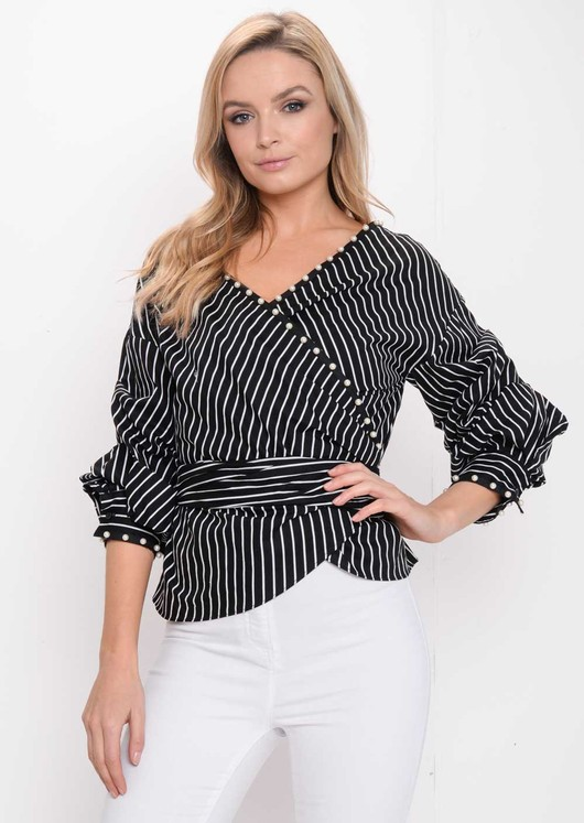Ruffle Sleeve Stripe Pearl Wrap Front Top Black