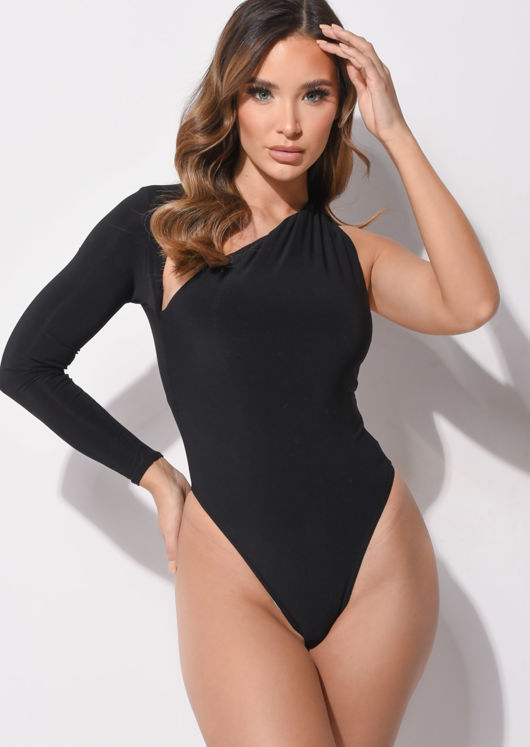 Slit One Sleeve Slinky Bodysuit Black
