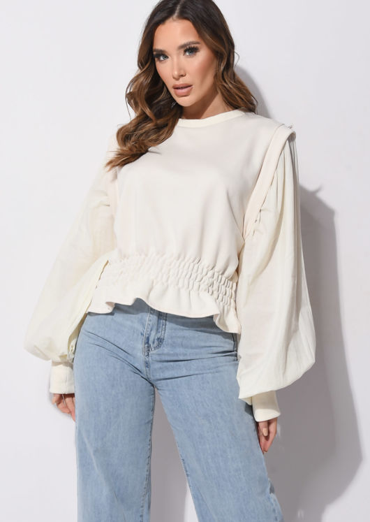 Ruffled Puff Long Sleeve Round Neck Sweater Beige
