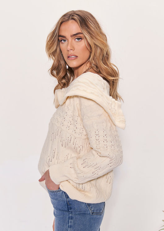 Sailor Collared Frilled Knitted Long Sleeves Sweater Top Beige