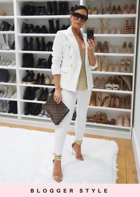 Military Style Tailored Button Blazer Jacket White