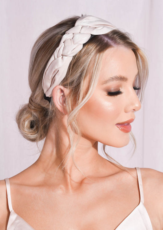 Satin Braided Detail Headband Beige