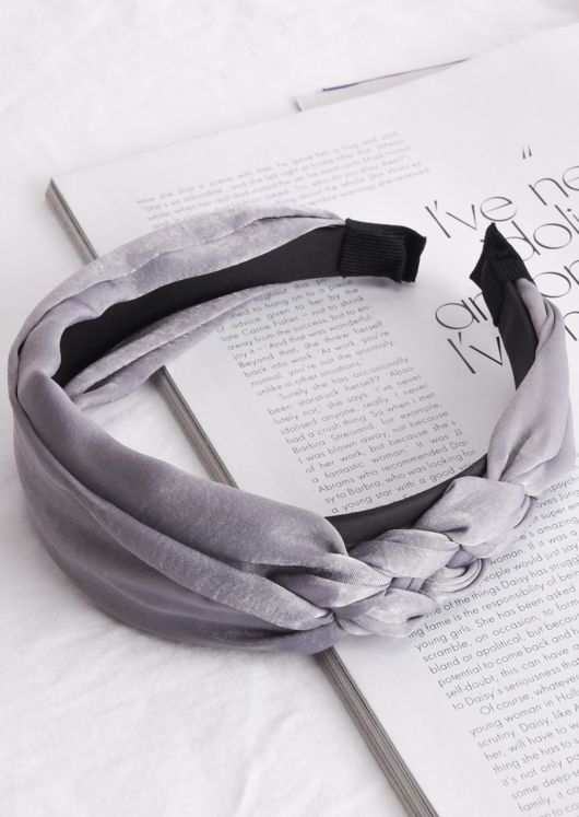 Satin Braided Detail Headband Grey