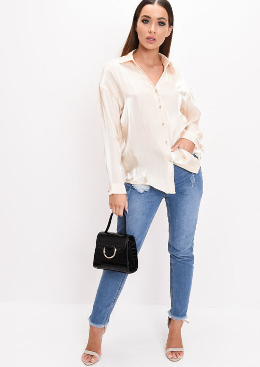 Satin Button Front Shirt Cream
