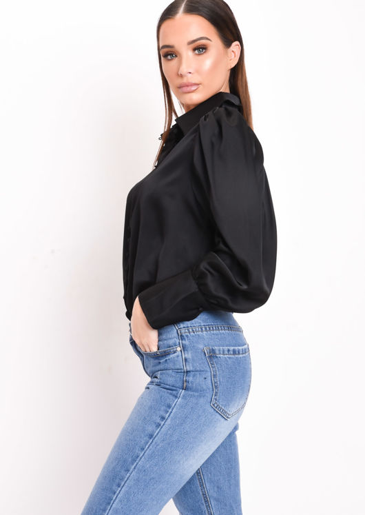 Satin Button Through Collar Shirt Black