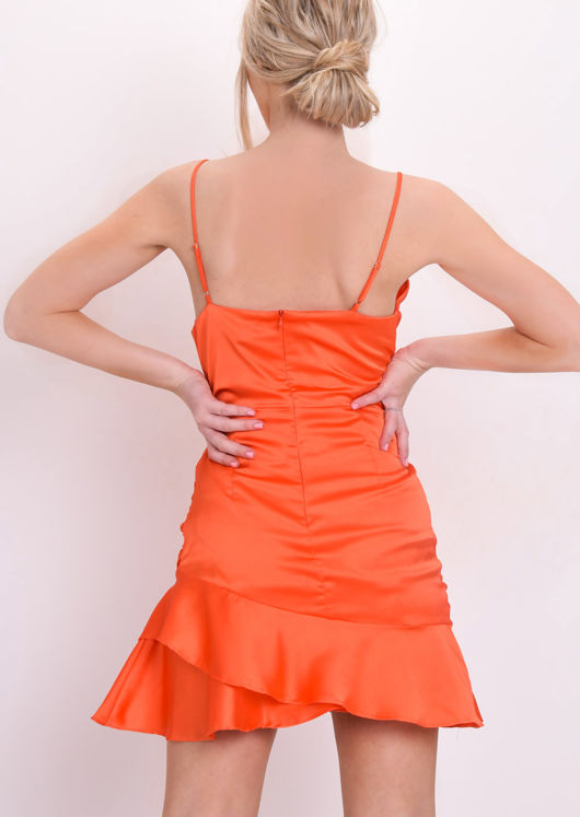Satin Cowl Neck Ruffle Mini Dress Orange
