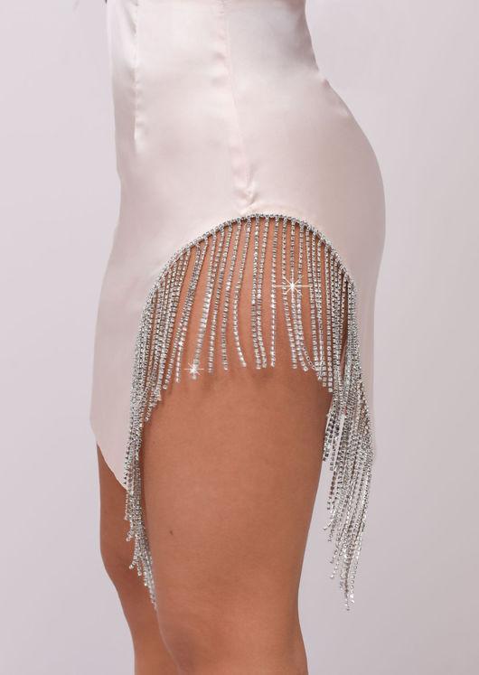 Satin Diamante Cut Out Tassel Co-ord Set Pink