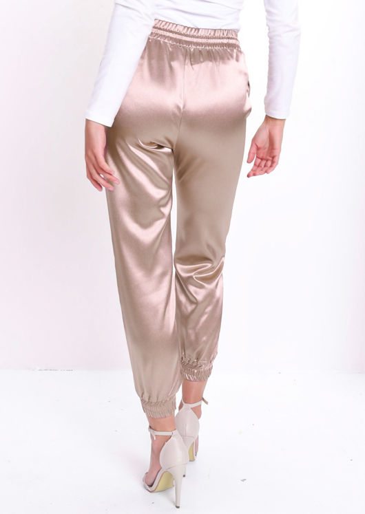 Satin Drawstring Jogger Trousers Rose Gold Pink