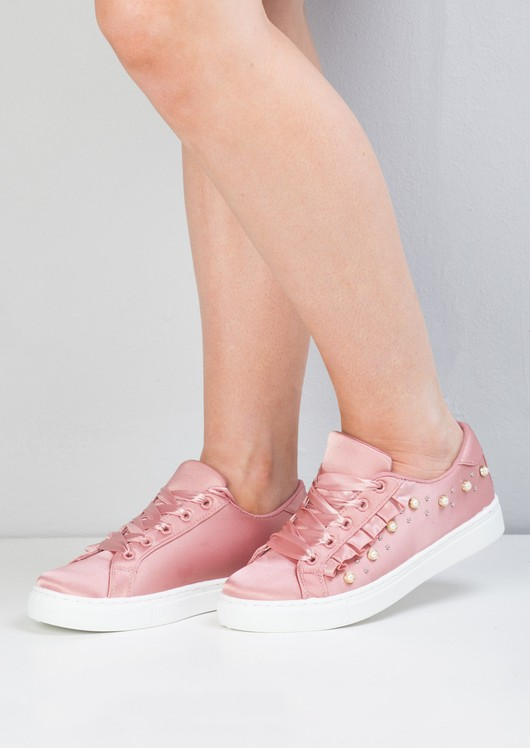 Satin Embellished Frill Trainers Pink