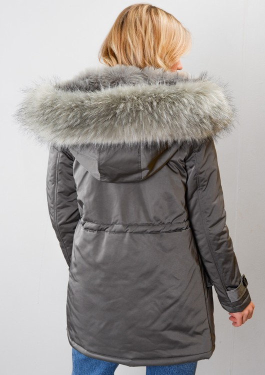 Satin Grey Faux Fur Hooded Tie Waist Parka Coat Grey