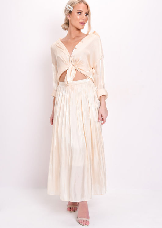 ba0a491029 Satin High Waisted Maxi Skirt Cream | Lily Lulu