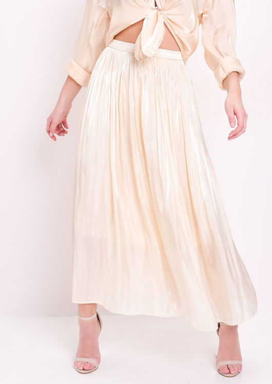 Satin High Waisted Maxi Skirt Cream