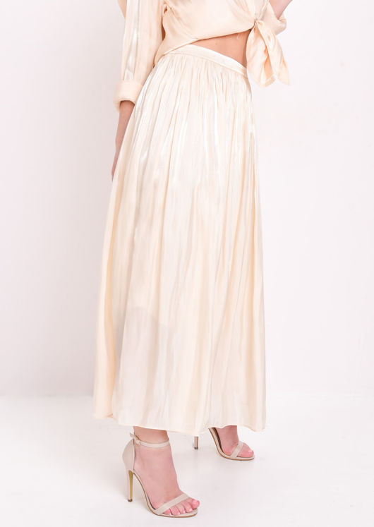 Satin High Waisted Maxi Skirt Cream