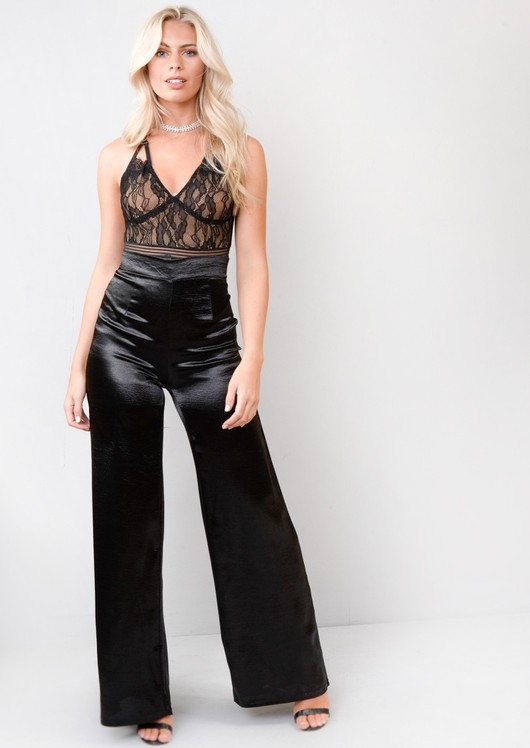 Satin High Shine High Waisted Wide Leg Trousers Black