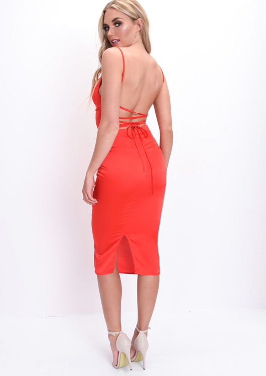 Satin Lace Up Back Slip Midi Dress Red