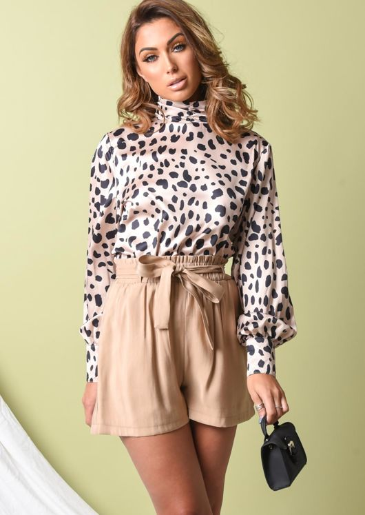 Satin Leopard Print High Neck Crop Blouse Multi