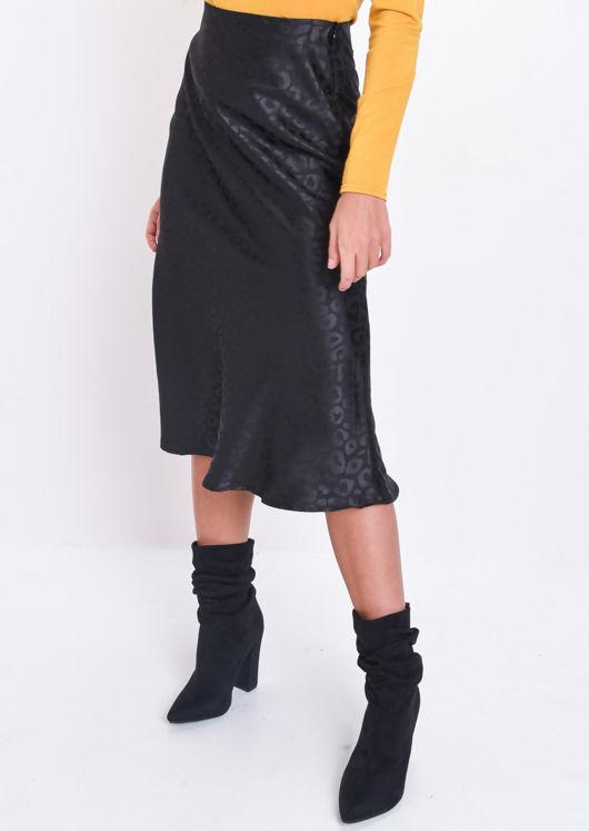 Satin Leopard Print Midi Skirt Black