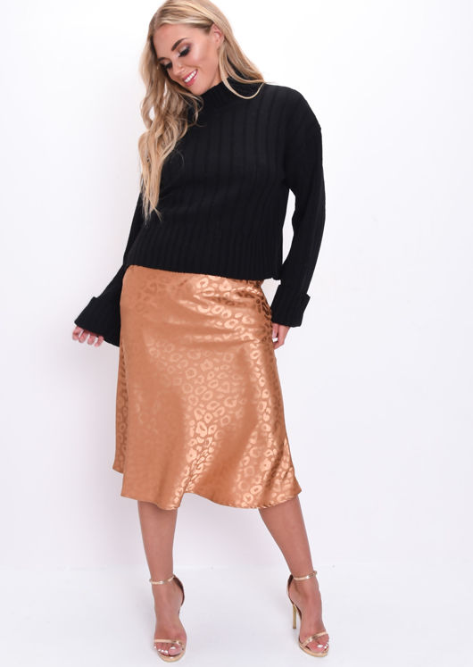 Satin Leopard Print Midi Skirt Camel Brown
