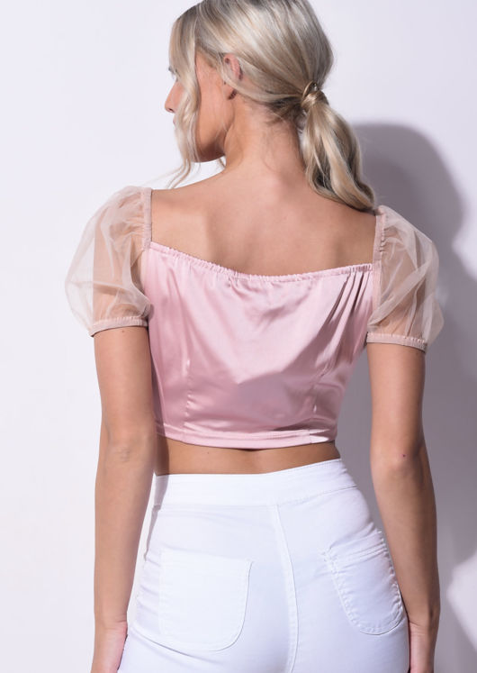 Satin Mesh Puff short Sleeve Organza Cropped Top Pink