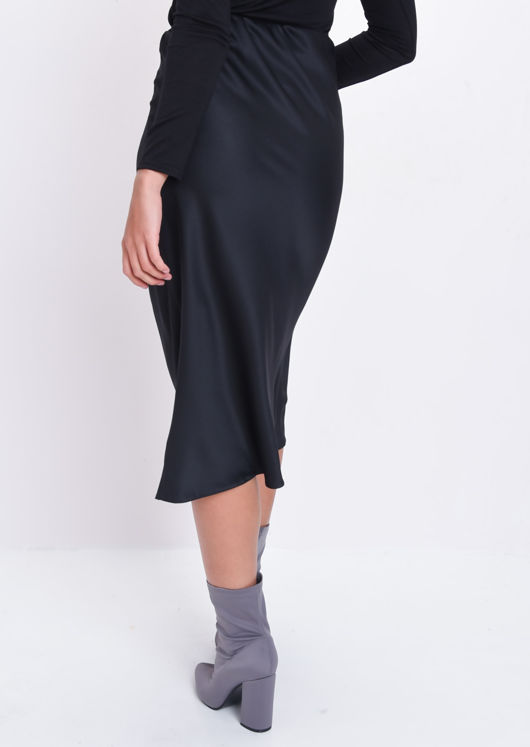 Silky Satin Midi Skirt Black