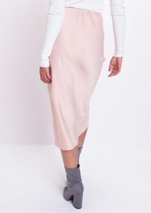 Satin Midi Skirt Nude Pink