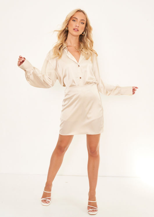 Satin Oversized Button Down Shirt Top And Mini Skirt Co Ord Set Beige