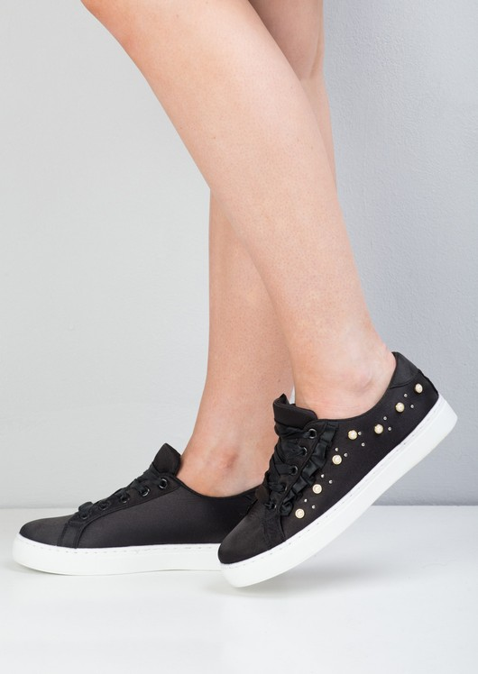 Satin Pearl Embellished Frill Trainers Black