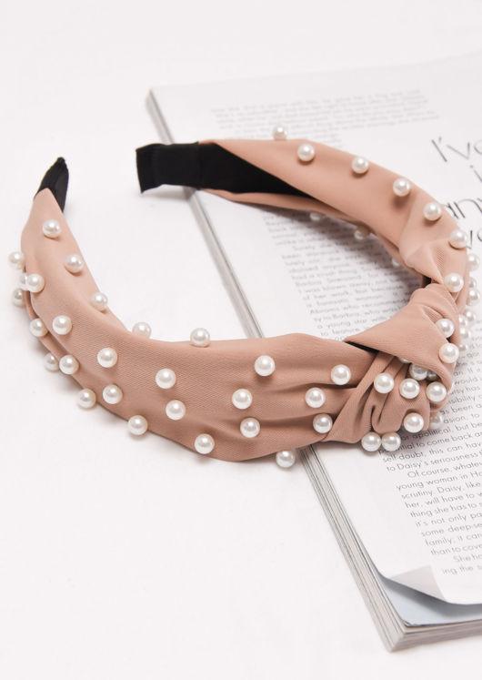 Satin Pearl Knot Headband Beige