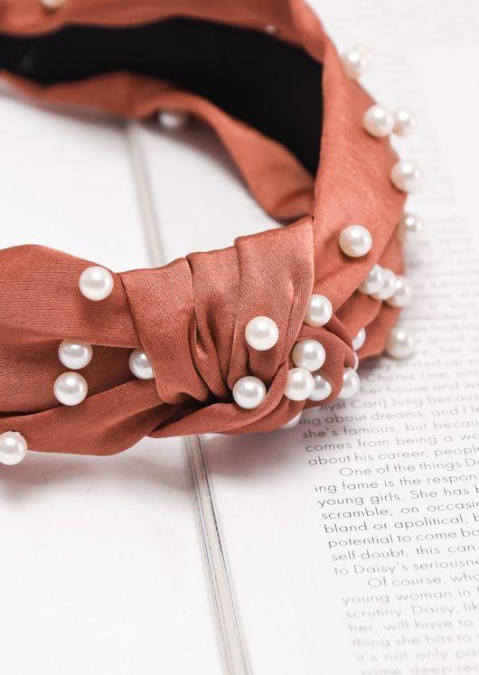 Satin Pearl Knot Headband Brown