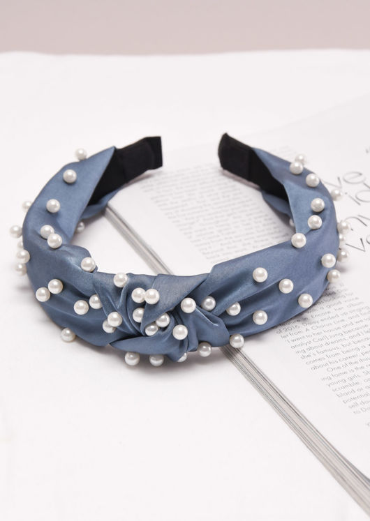 Satin Pearl Knot Headband Light Blue