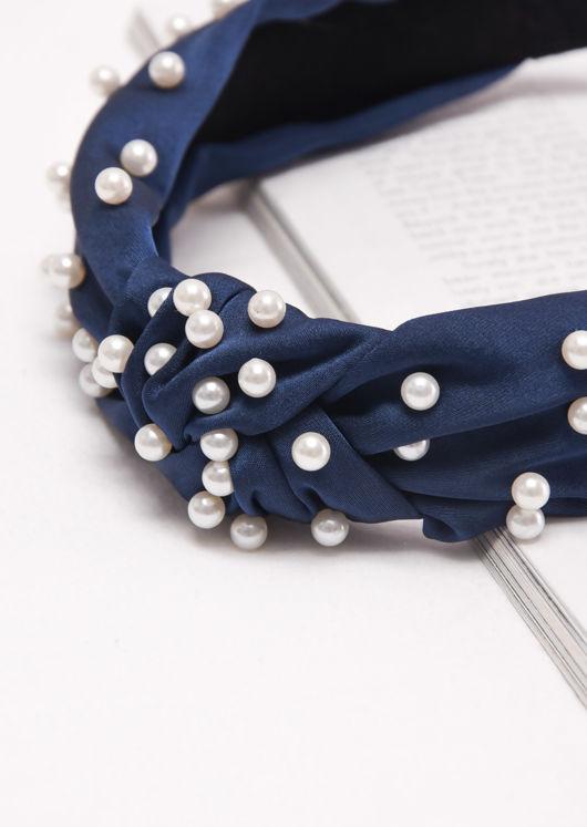 Satin Pearl Knot Headband Navy Blue