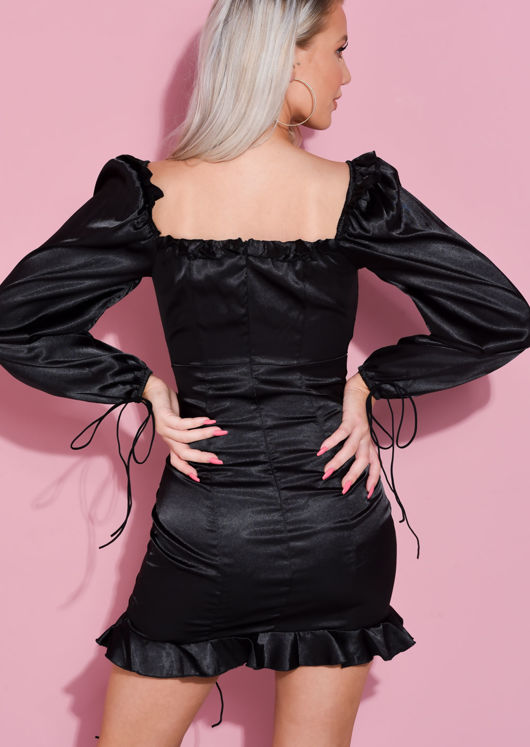 Off Shoulder Satin Puff Sleeve Ruched Mini Dress Black