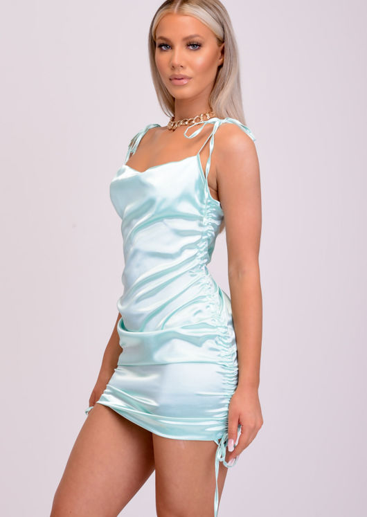 Satin Ruched Side Drawstring Mini Dress Green