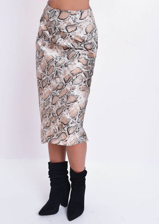 Satin Snake Print High Waisted Midi Skirt Multi