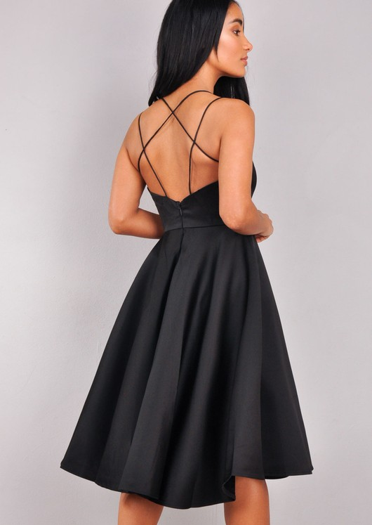 Satin Strappy V-Neck Midi Dress Black