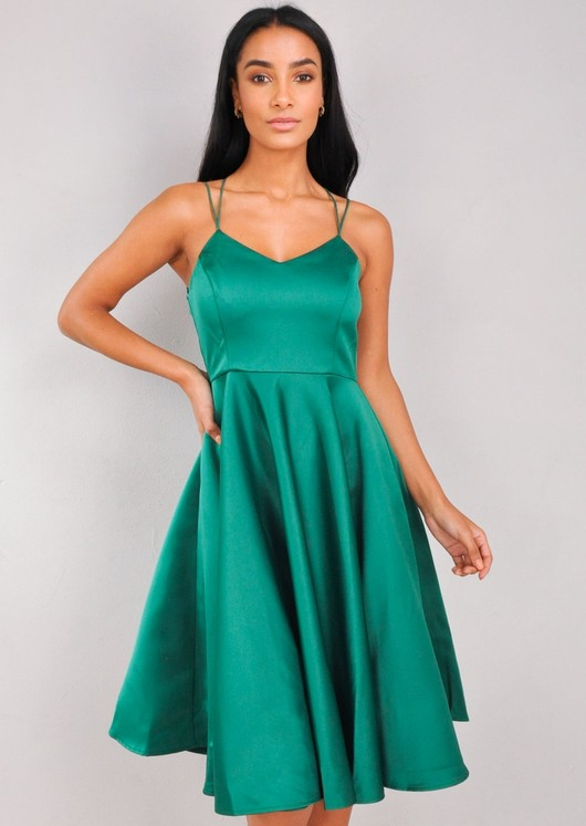 Satin Strappy V-Neck Midi Dress Green