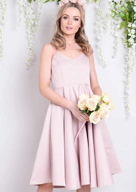 Satin Strappy V-Neck Midi Dress Pink