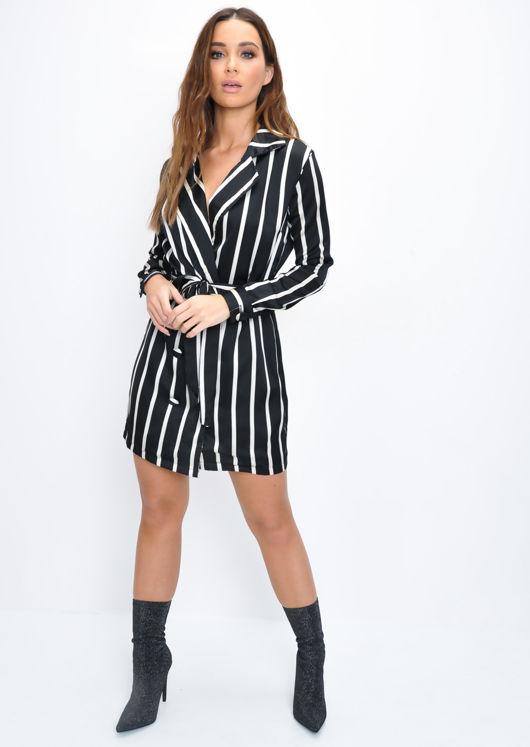 Satin Stripe Double Breasted Blazer Mini Dress Black