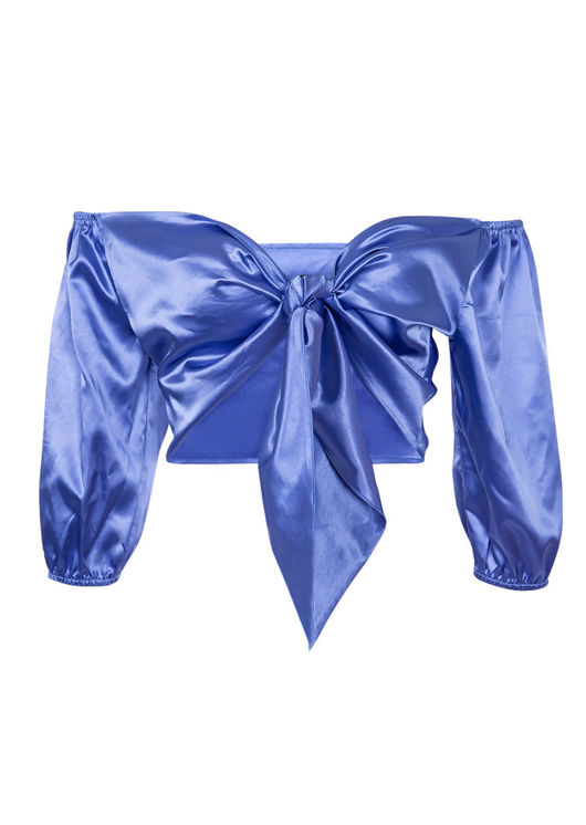 Satin Tie Front Wrap Over Crop Top Blue